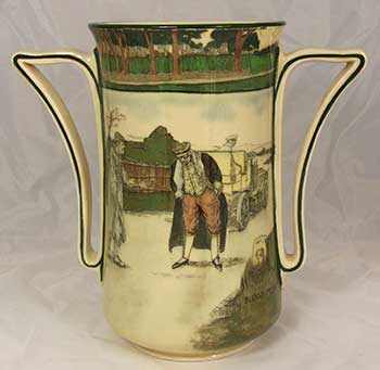 Collectors vase featuring designs: Blood Money, and Deaf - Royal Doulton Motoring Seriesware