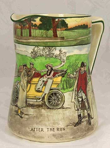 Collectors jug featuring designs: After The Run - Royal Doulton Motoring Seriesware