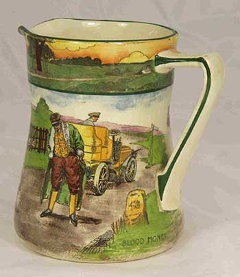 Collectors jug featuring designs: Blood Money and Deaf - Royal Doulton Motoring Seriesware