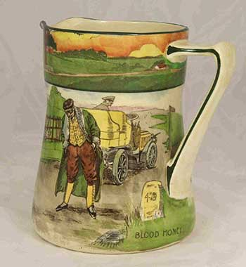 Collectors jug featuring designs: Blood Money - Royal Doulton Motoring Seriesware