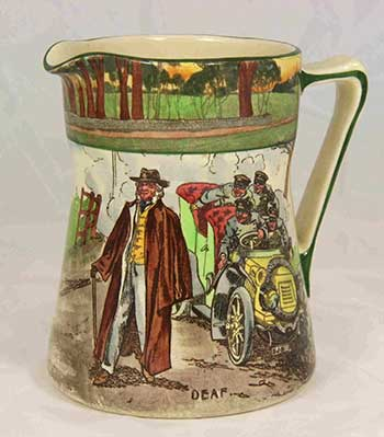 Collectors jug featuring designs: Room For One and Deaf - Royal Doulton Motoring Seriesware