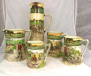 Collectors jugs featuring designs: Blood Money, and Deaf - Royal Doulton Motoring Seriesware