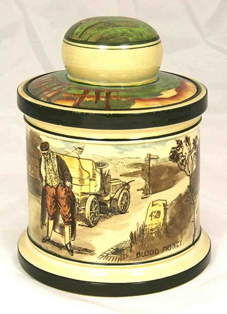 Collectors lidded pots featuring designs: Deaf - Royal Doulton Motoring Seriesware