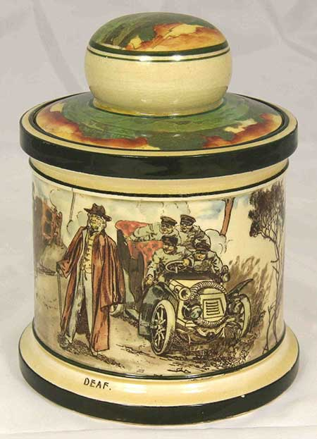 Collectors lidded pots featuring designs: Blood Money - Royal Doulton Motoring Seriesware