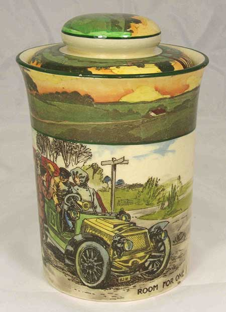 Collectors lidded pots featuring designs: Room For One - Royal Doulton Motoring Seriesware