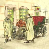 Royal Doulton Motoring Series Ware - Yokel and motorist outside Chequers Inn